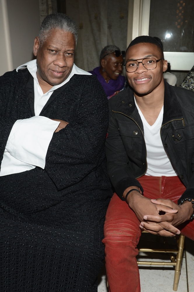 Andre Leon Talley and Russell Westbrook at Zac Posen