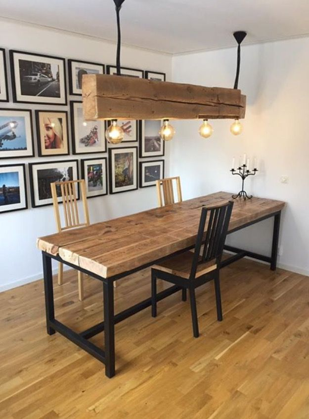 Grey Dining Room With Timber Furniture