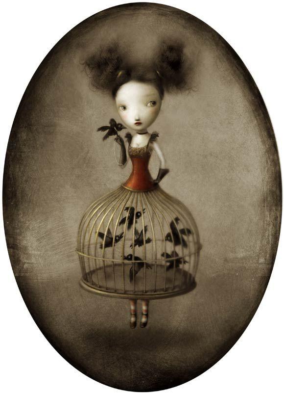 Nicoletta Ceccoli - Sheryl - girl - birdcage - gabbia - uccelli - ragazza - black - red - nero - rosso - gothic