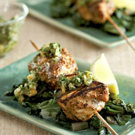 Moroccan lemon chicken on spinach