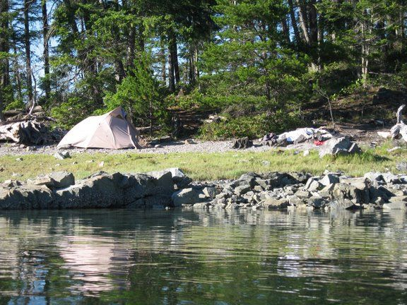 Beach camping in the Discovery Islands.