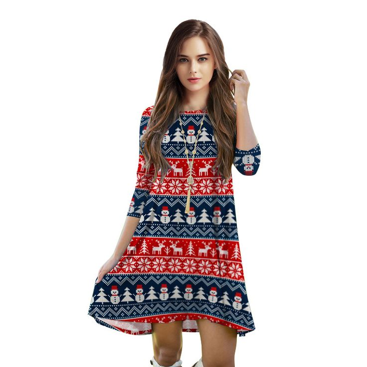 ==> [Free Shipping] Buy Best Newest Christmas Series Snowflake 3d Digital Printing European Dress Casual Loose Knee Length Party Dress Girls Beautiful Dress Online with LOWEST Price   32818514675