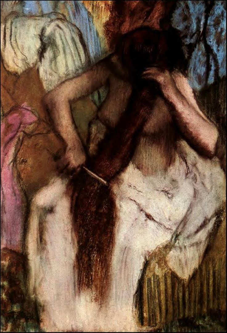 "Edgar Degas, The Impressionists painted the realities of the world around them using bright, ""dazzling"" colors, concentrating primarily on the effects of light, and hoping to infuse their scenes with immediacy."