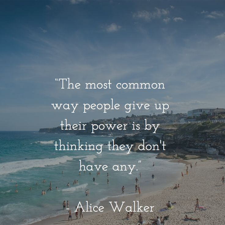 """The most common way people give up their power is by thinking they don't have any.""   - Alice Walker"