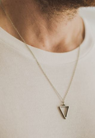 TRIANGLE CHAIN NECKLACE FOR MEN SILVER GEOMETRIC PENDANT HIM