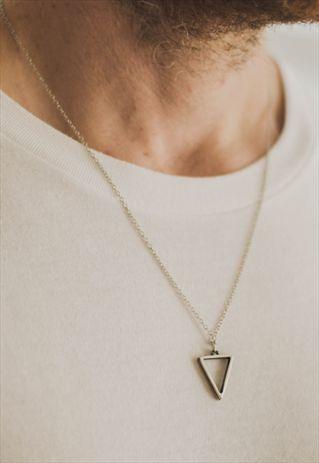 TRIANGLE CHAIN NECKLACE FOR MEN SILVER GEOMETRIC PENDANT HIM
