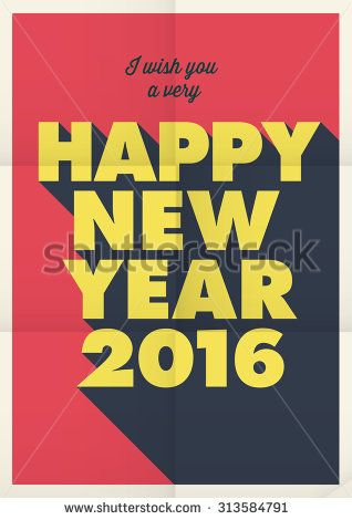 Happy new year 2016 poster card, retro vintage title, editable vector design