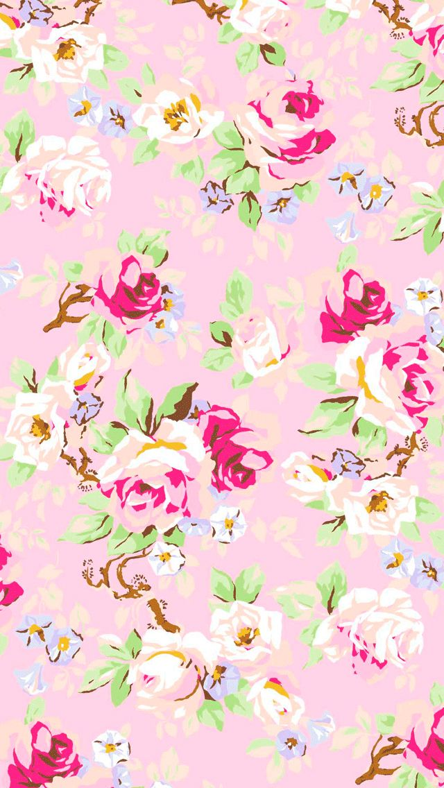 Baby pink floral iPhone wallpaper