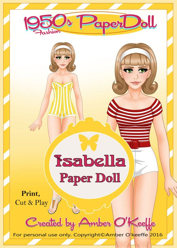 1950s Isabella Paper Doll Collection 10 Extra by OkeeArts on Etsy