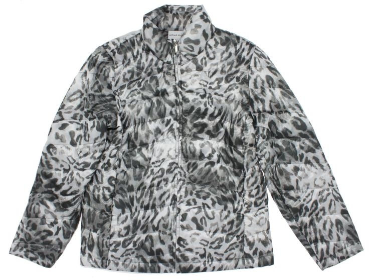 Alfred Dunner Petite Animal Print Quilted Jacket 16 Grey. Zip up lightweight quilted nylon jacket. Long sleeve. Zippered side pockets. 100% Polyester.