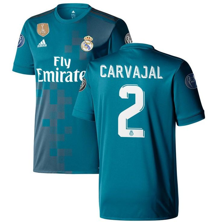 Daniel Carvajal Real Madrid adidas 2017/18 Third Replica Jersey - Teal