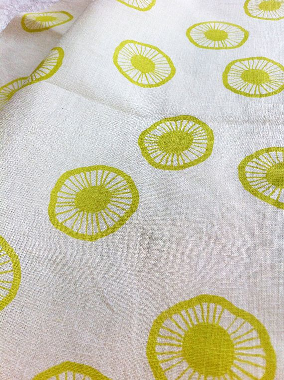 Hand Printed Fabric, Fat Quarter (50 x 70cm) 'Urchin' in Pistachio