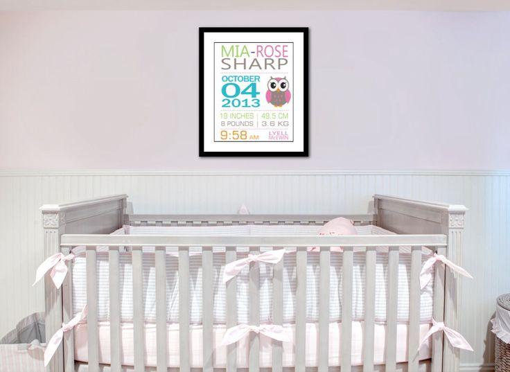 40 x 50cm Framed nursery birth typography art Print.