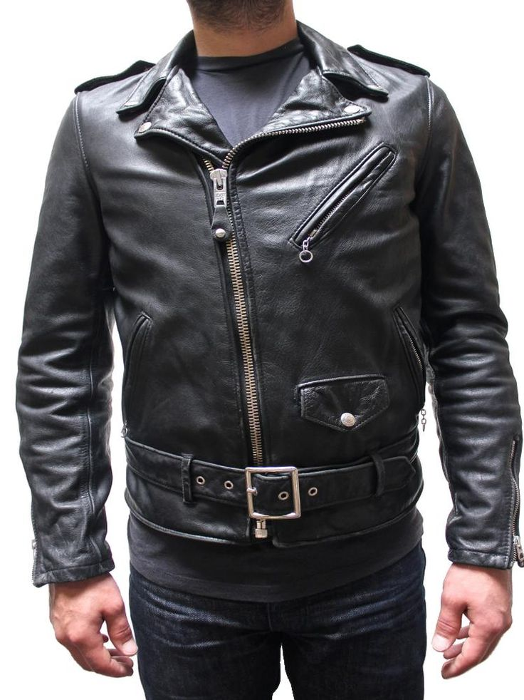 Schott Vintaged Fitted Men's Cowhide Leather Motorcycle Jacket Black 626VN  | Find them at Boot Star