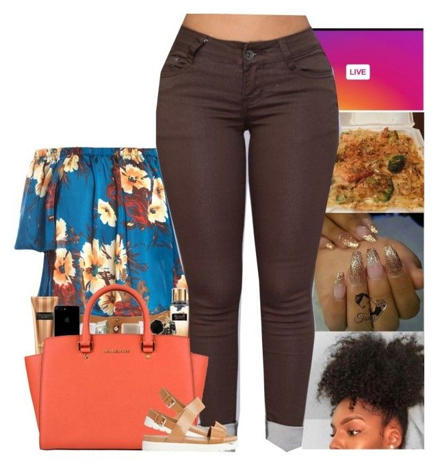 """"""""""" by kennisha84 ❤ liked on Polyvore featuring Sans Souci, Victoria's Secret, Happy Plugs, MiPow, MAC Cosmetics, MICHAEL Michael Kors and ALDO"""