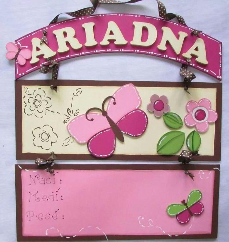 Letrero en mdf personalizados para la decoración de la puerta de hospital de tu bebé! Hospital door hanger.