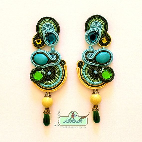 Soutache Earrings Swarovski Crystal di DILETTANTEsoutache su Etsy, $130.00