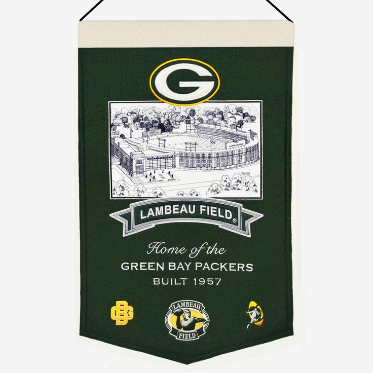 """This beautifully embroidered 15"""" x 20"""" banner celebrates the proud tradition of the Green Bay Packers and their famed Lambeau Field. This banner is constructed from wool and includes embroidery and applique. A hanging rod and cord are included for easy hanging."""
