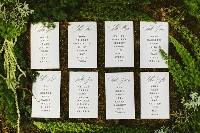 Love this calligraphy seating chart decorated with ferns + greenery