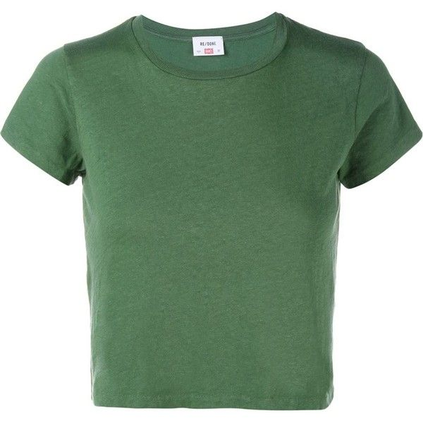 Re/Done Hanes Boxy Cropped Short Sleeve T-Shirt found on Polyvore featuring tops, t-shirts, tees, green, distressed tee, green t shirt, crew-neck tee, crew neck tee and green top