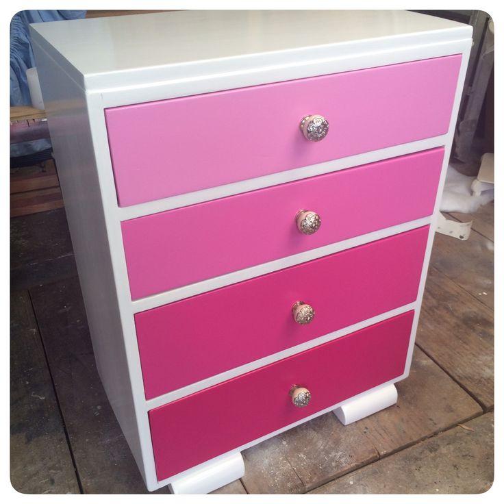Pink ombré  Custom dresser for a lucky little girl.  Facebook.com/HomeCandyNZ
