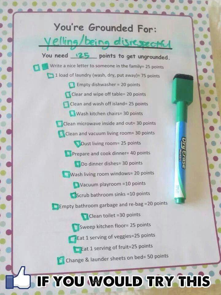 Cool. Can add good deeds or other chores that aren't usually the child's responsibility. That way they still always have to do their regular chores no matter what and when they get in trouble,they have to do the ADDITIONAL chores that are on this list.