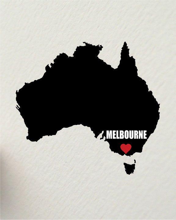 I LOVE MELBOURNE, Victoria, Australia 8 x 10 inch inspirational motivational art print. $17.50, via Etsy.