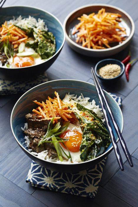 CURTIS STONE'S KOREAN-INSPIRED RICE BOWL of SOY SAUCE, GINGER, CITRUS, HONEY, CHILE-MARINATED BEEF with CARROT SALAD, SAUTEED BOK CHOY and SUNNY-SIDE UP EGG [Curtis Stone] [recipes.coles]