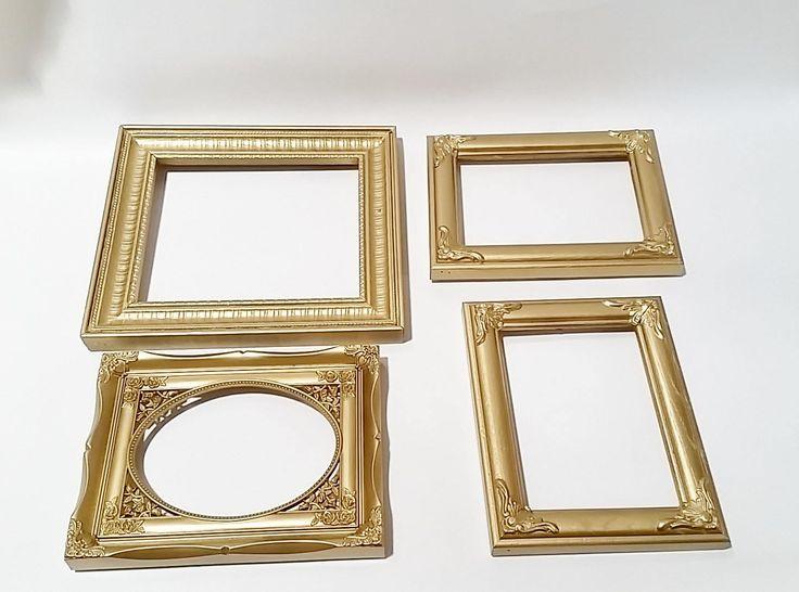 Gold Frame Set, Picture Frames, Wall Frame Set, Picture Frame Set, Shabby Chic Picture Frames
