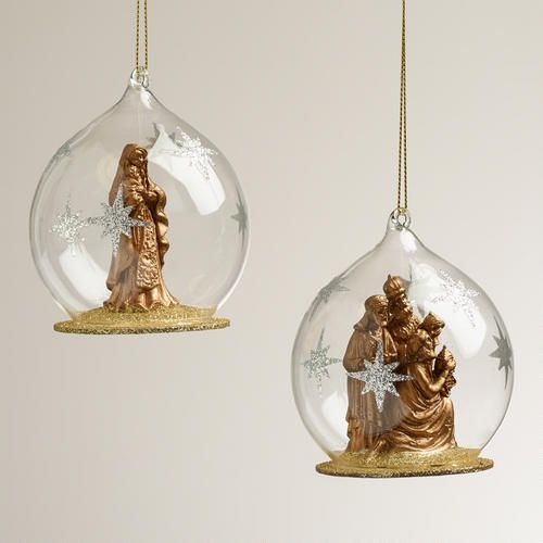 Nativity At Night Glass Ball Religious Christmas Ornament: 116 Best Christmas Ornaments Images On Pinterest