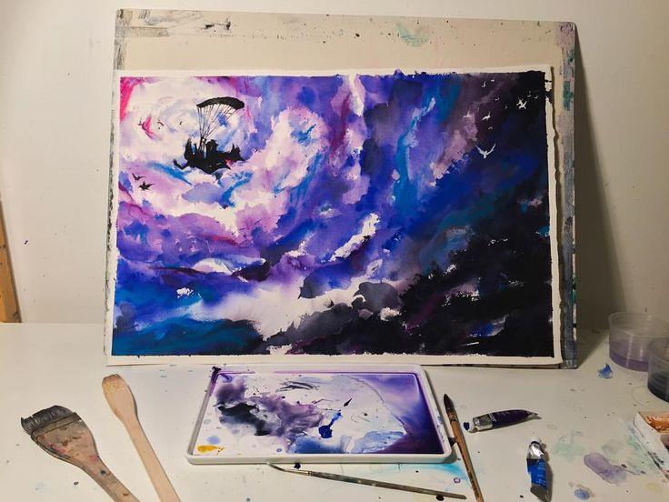 Skyfall #instagood #waterblog #aquarelle #watercolor #painting #art #artwork #instagood #artist #watercolorart #watercolourart #style #artoftheday #inspiring_watercolors #scene #watercolourpainting #watercolour #painting #artist_4_shoutout #artdesires #abstract #sky #storm #sketch #color #colour #purple #blue