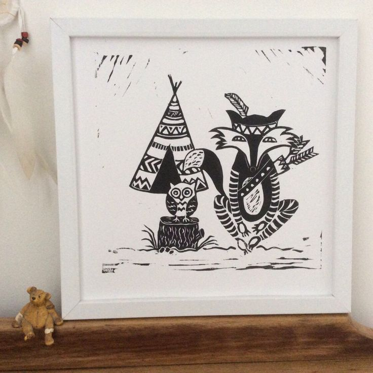 A personal favorite from my Etsy shop https://www.etsy.com/au/listing/398388431/tribal-owl-and-fox-original-design-hand