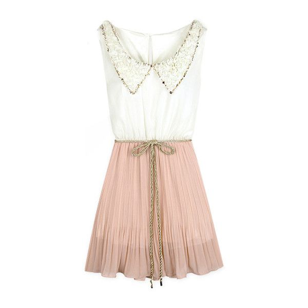 Dress with collar and pink skirt
