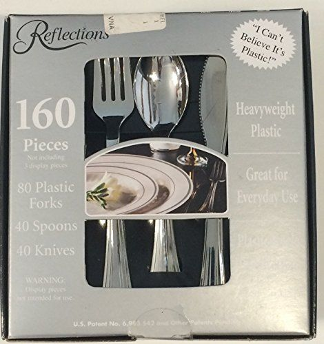 Use for dinner to cut catering costs-- only $14.99--160 Pieces Reflections Heavyweight Plastic Silverware - Forks, Spoons, Knives