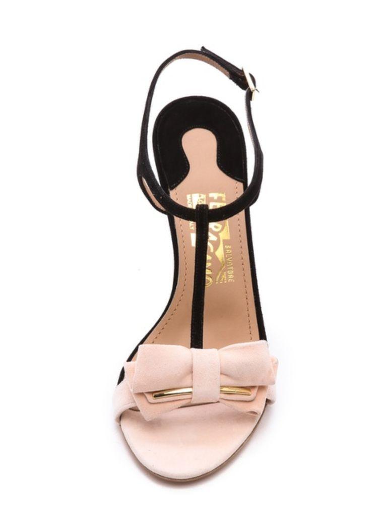 Salvatore Ferragamo Pavi T Strap Bow Sandals shopbop.com