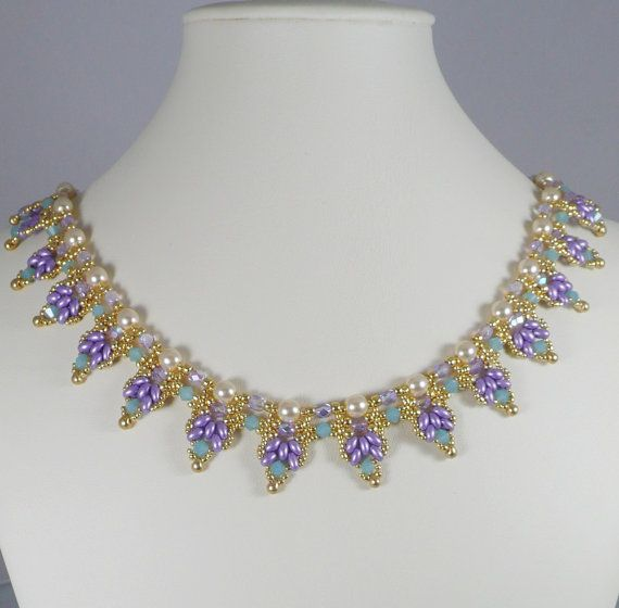Woven Super Duo Collar Necklace Lavender