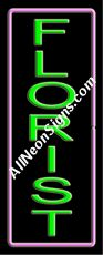 """Florist Neon Sign-10657-6578  13"""" Wide x 32"""" Tall x 3"""" Deep  110 volt U.L. 2161 transformers  Cool, Quiet, Energy Efficient  Hardware & chain are included  6' Power cord  For indoor use only  1 Year Warranty/electrical components  1 Year Warranty/standard transformers."""