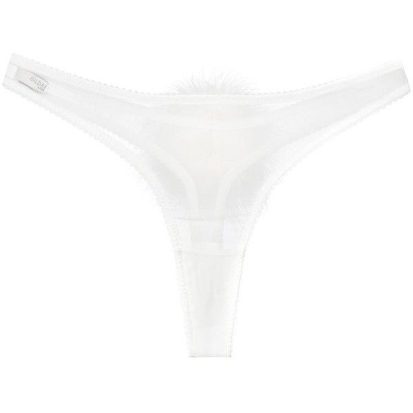 Ivory white silk 'Diana Georgette Pompom' thong from Gilda & Pearl. Underwear and lingerie must be tried on over your own garments. Size: L. Gender: Female.…