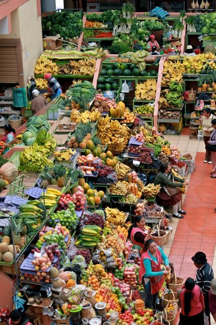 The local markets were the best places to shop.  A view from the top of the market #Ecuador.