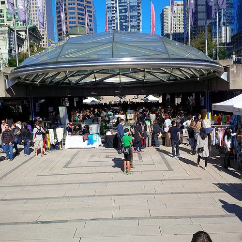 full house at Etsy Made in Canada market at Robson Square, Vancouver - Sept. 27