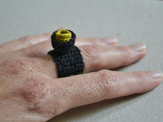 Crochet ring textile jewelry fiber ring soft jewelry by Loulalalou