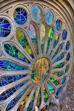 Been there! It's as lovely as this, honest. And more. Sagrada Familia rose window, Barcelona, Spain.
