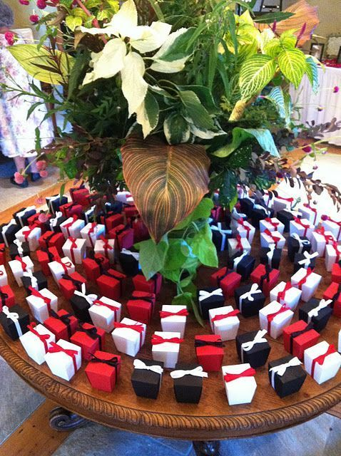 Red Black And White Wedding Favor Containers Bellajoviality