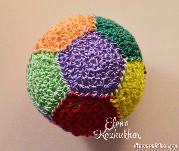 Мячик-антистресс из пятиугольных мотивов. МК в ролике.