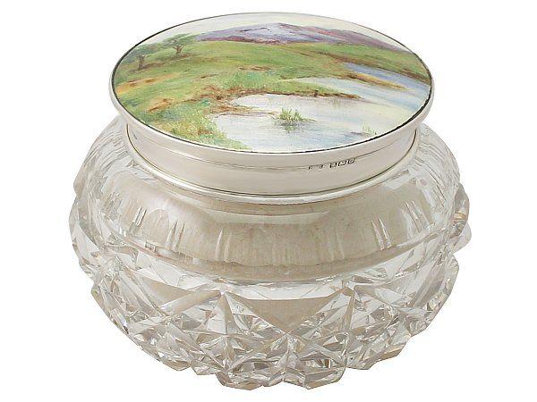 Sterling Silver, Cut Glass and Enamel Dressing Table Jar - Antique George V  SKU: A3741 Price  GBP £995.00  http://www.acsilver.co.uk/shop/pc/Sterling-Silver-Cut-Glass-and-Enamel-Dressing-Table-Jar-Antique-George-V-42p5436.htm#.VgEINJcYHfc