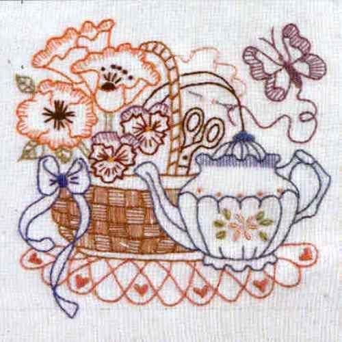 Butterfly Basket By Bronwyn Hayes  Kit includes DMC stranded cotton, calico, transfer paper, embroidery needle and all instructions.  Stitched area is 14 cm x 14 cm  Could be used as a picture, cushion top, or panel in a quilt.