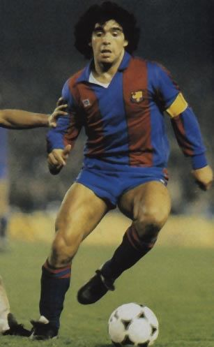Diego Armando Maradona (FC Barcelona, 1982–1984, 36 apps, 22 goals). After the 1982 FIFA World Cup Spain, in June, Maradona was transferred to Barcelona in Spain for a then world record fee of $ 7.6m. Although bombarded with illness and injury, he scored 38 goals in 58 games (all competitions). He was then sold to the Italian club Napoli.