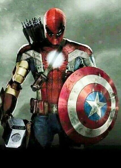 Overpowered Aveners Man. Captain America Deadpool Iron Man Spider-Man Thor Hawkeye mashup