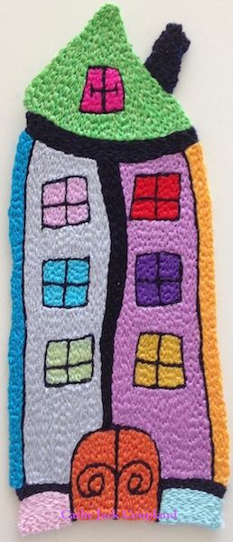 Happy House artwork prior to mounting onto stretched canvas.  2016.  Free machine embroidery using rayon and polyester threads.