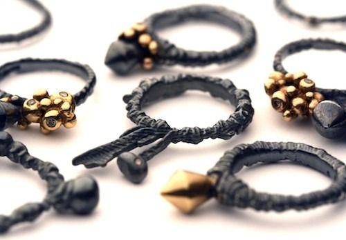 Rings by Ross Millar. Strangely organic and manmade-looking. http://www.rosmillar.com/